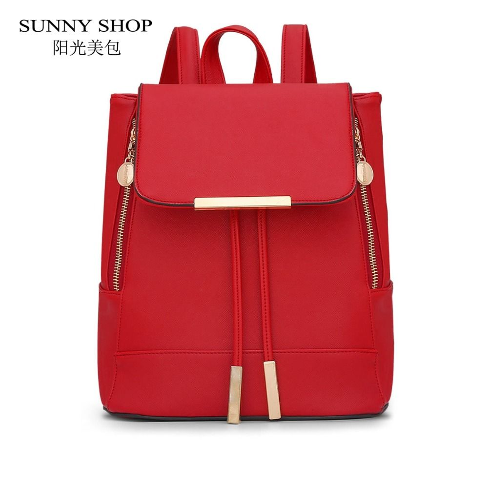 SUNNY SHOP Women Drawstring Bag PU Leather Backpack Fashion School Bags Casual Backpacks for teenage girls schoolbag backpack