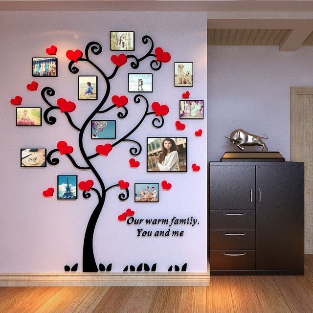 Acrylic 3d frame family tree customized crystal acrylic pink heart family tree photo frame wall stickers Home decoration