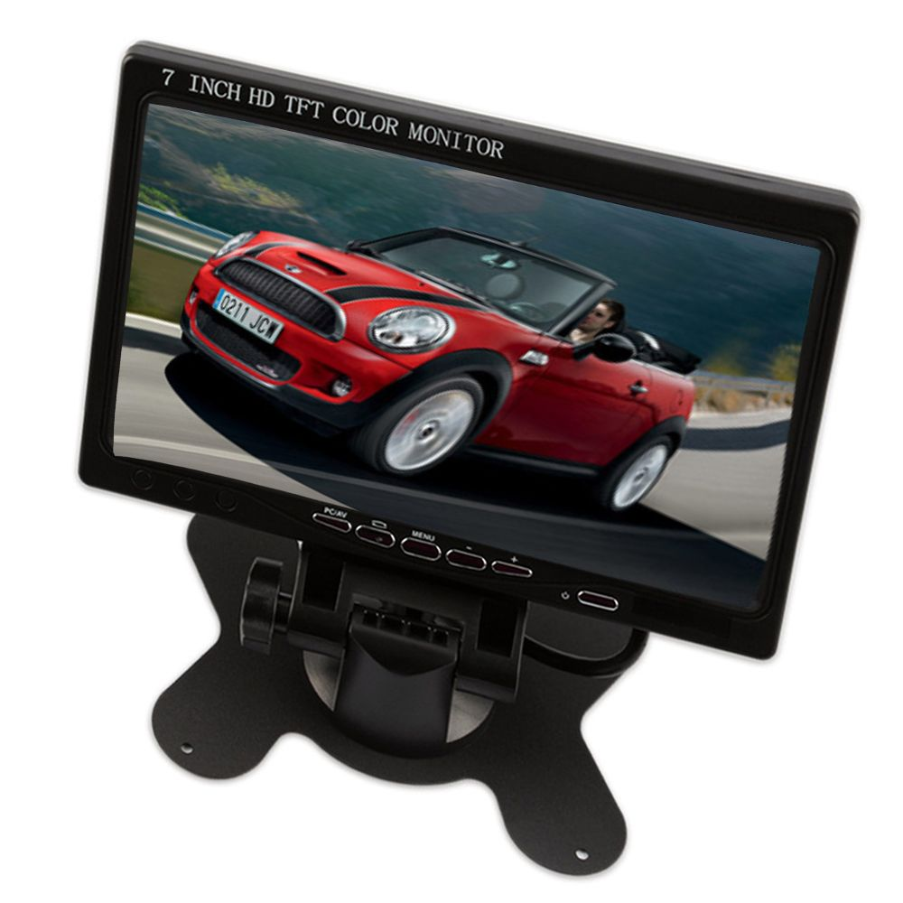 "Podofo 7"" Car Rear View Monitor HDMI VGA Input DVD VCR TV Surveillance Monitor HD TFT LCD Screen Display for Backup Camera"