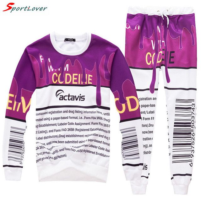 Sportlover New 2016 coffee&letter actavis print sweat suit tracksuit set men/women joggers&hoodies suit 2 piece
