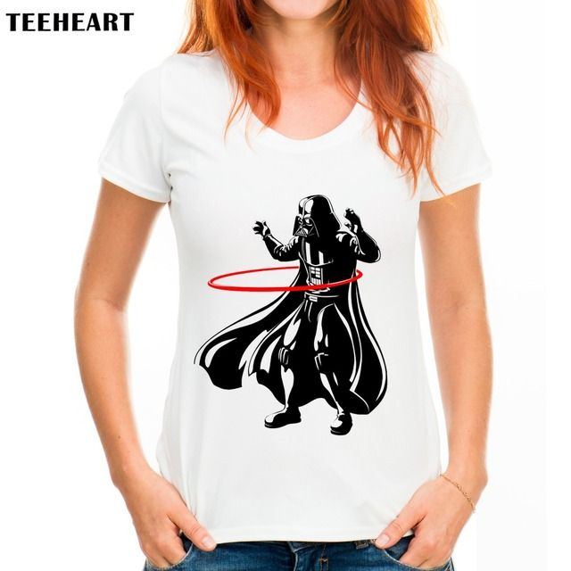TEEHEART Summer New Modal Short-Sleeve O-neck Movie Darth Vader Shirt Funny women Top Tees A138