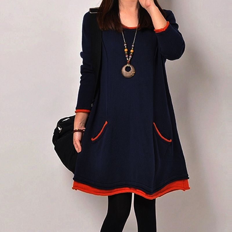 R4# Woman Dressed Winter 5XL Plus Size loose Long Sleeve Cotton Plus Thick Velvet Knee-Length Basic Lady Long Dresses vestidos