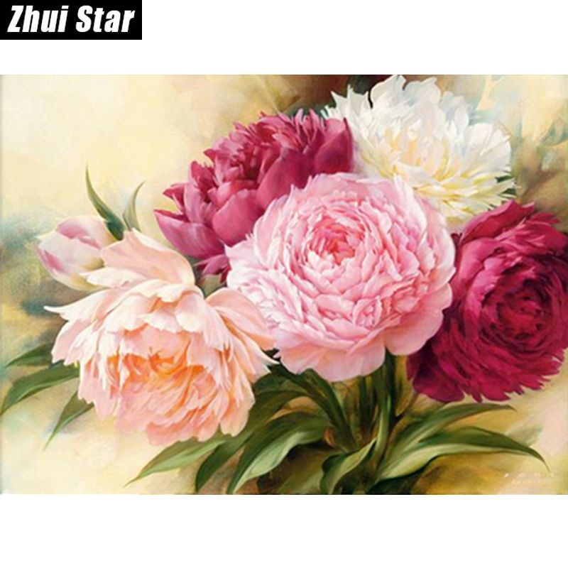 "Full Square Diamond 5D DIY Diamond Painting ""Peony Flowers"" Embroidery Cross Stitch Rhinestone Mosaic Painting Home Decor"
