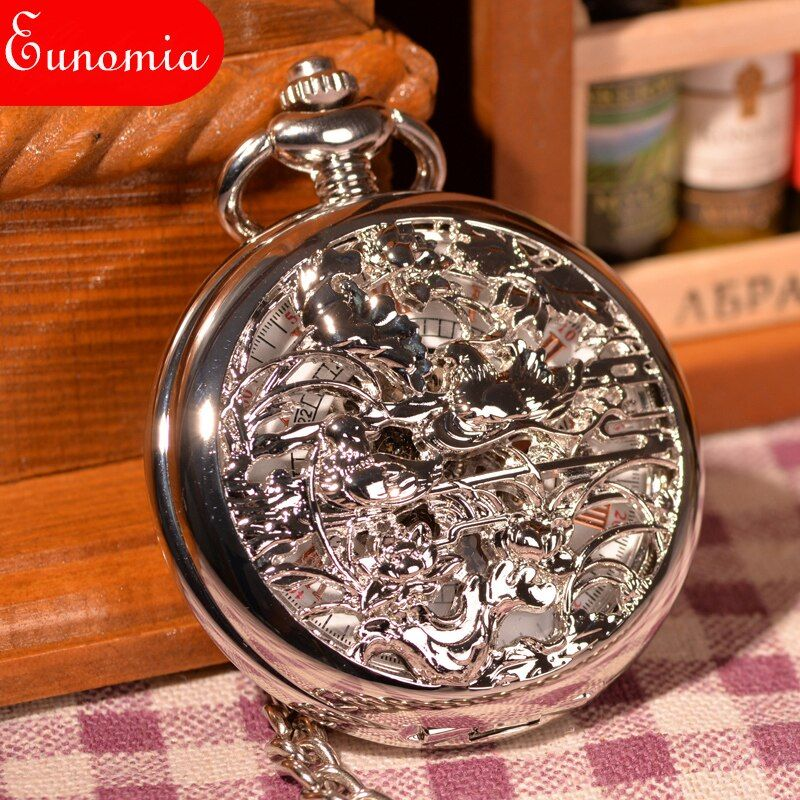 Antique Vintage Retro Silver Birds Angling FOB Pocket Watch Necklace Pendant Chain Men Women Lover Gift Round Pocket Watch Cool