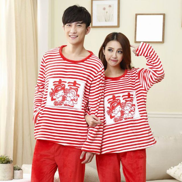 Autumn Winter Long Sleeve Flannel Striped Pajamas Sets Women's Red Sleepwear Married Couples Wedding Gown Men's Pajamas Homewear