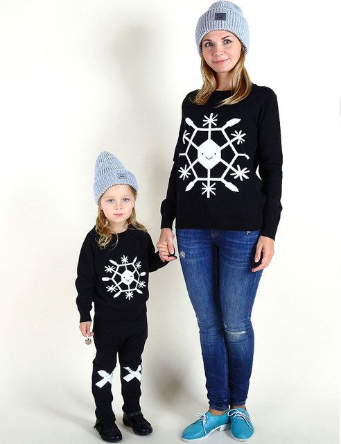 Mother Daughter Matching Clothes For 2016 Autumn And Winter Child Brand Knitted Sweater Wool Clothing