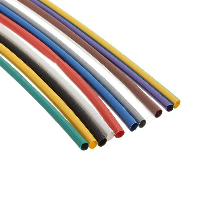 Hot 55pcs 5 Sizes 11 Colors 2:1 Assortment Polyolefin H-type Heat Shrink Tubing Tube Sleeving Wrap Cable Wire Kit