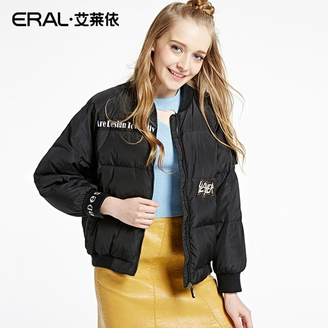 ERAL Women's Winter 2016 Stand Collar Patch Designs Solid Casual Thickening Short Down Jacket ERAL12028-EDAA