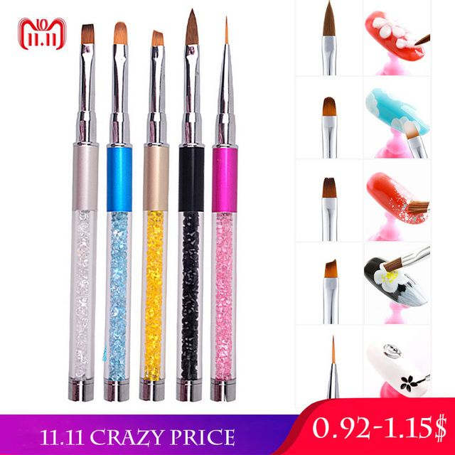 1pc Nail Art Brush Pen Rhinestone Acrylic Handle Carving Nails Painting Poly Gel Brush Tips Liner Manicure Accessories DIY New