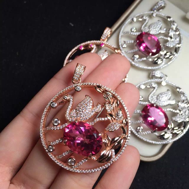12*16mm  fine jewelry 925 sterling silver natural pink topaz pendant Necklace