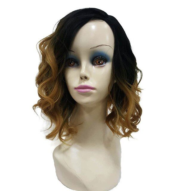 StrongBeauty Light Brown Ombre Wig Medium Wavy Bob Cuts Hairstyle for Women Synthetic Full Wigs