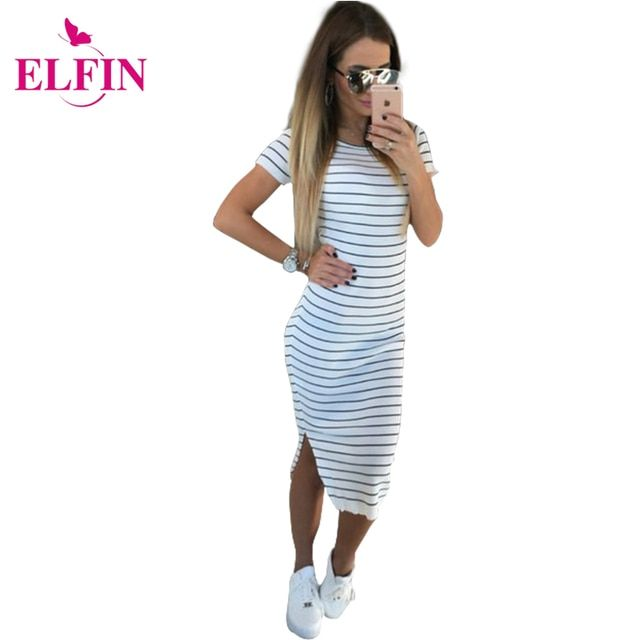 Casual Summer Women Dress Short Sleeve Round Neck Slim Fit Bodycon Dress Striped Side Split T Shirt Womens Dresses  LJ3904R
