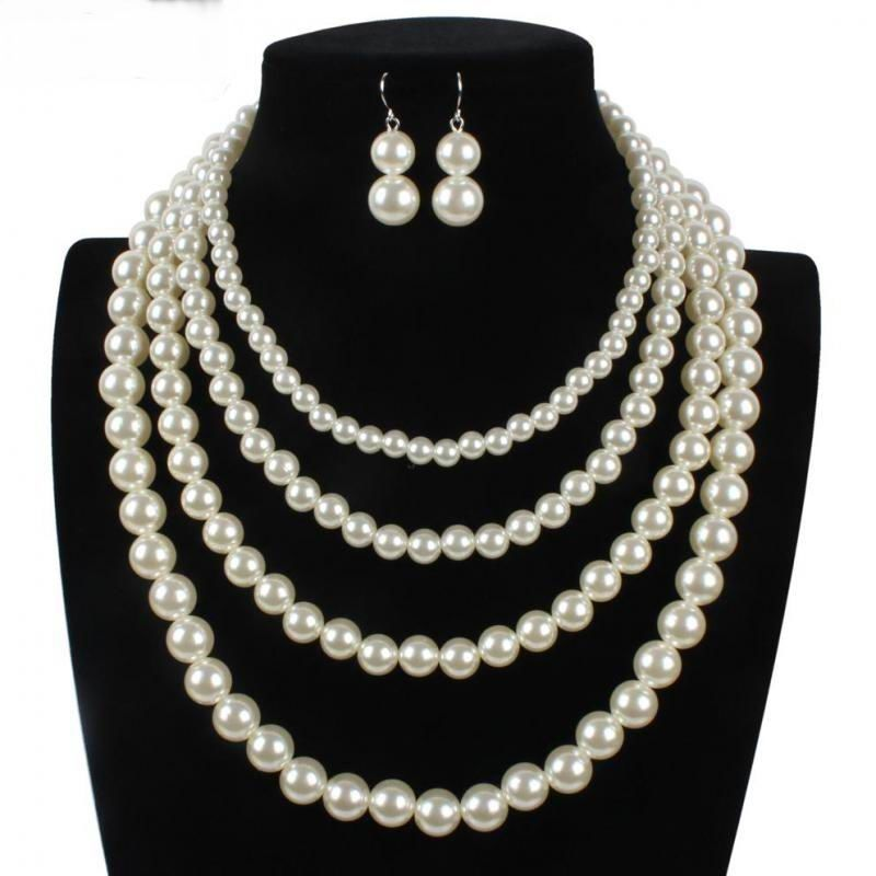 Statement Four Layers Simulated Pearl Chokers Necklaces Earrings Set Bride Wedding Jewelry Set All Match