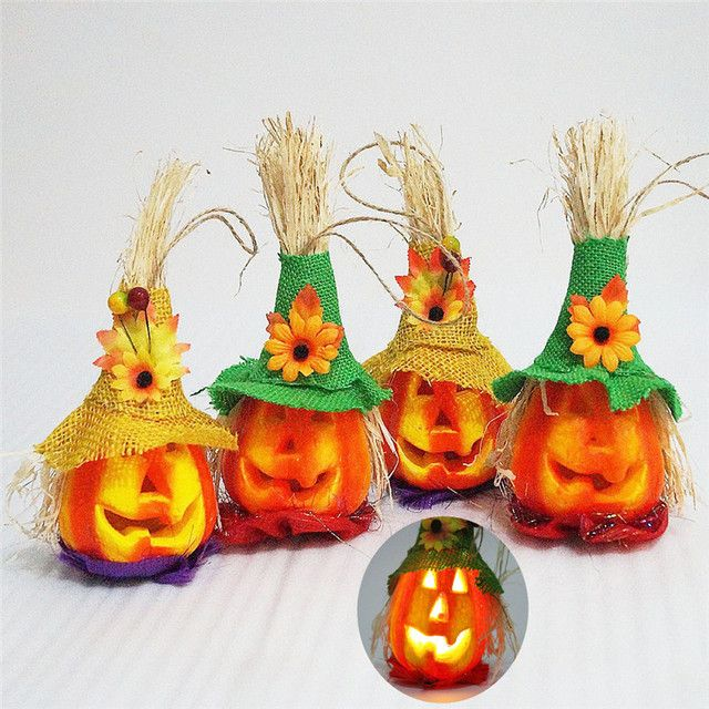LED Pumpkin Lights Flash Performance Prop Halloween KTV Bar Decor Scarecrow Wholesale Free Shipping 0aug1 #1T3