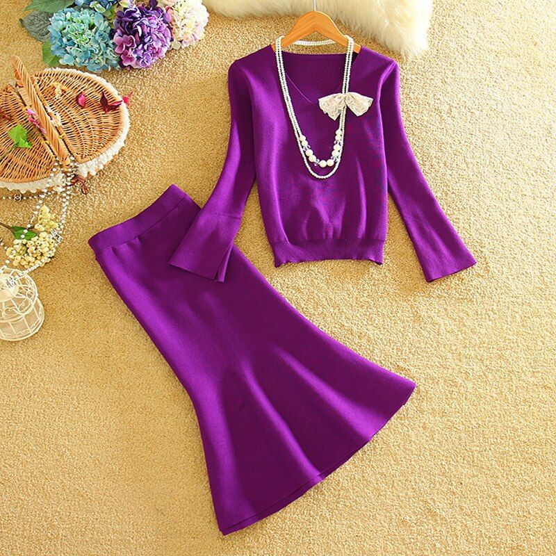 Autumn Winter Women Fashion Knitted Skirt Sets 2 Piece Set Women Slim Knitting Blouses Tops + Ruffle Hem Step Skirt Set Suits
