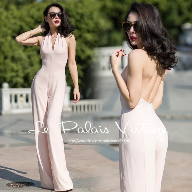 Le Palais Vintage 2016 Autumn New Elegant Water Pink Rayon Hanging Neck Large Halter Wide Leg Long Loose Jumpsuits Women
