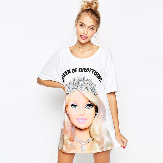 Harajuku new women's t shirt cartoon Barbie girl camouflage 3d print tshirts women cute summer camisetas mujer tops clothing