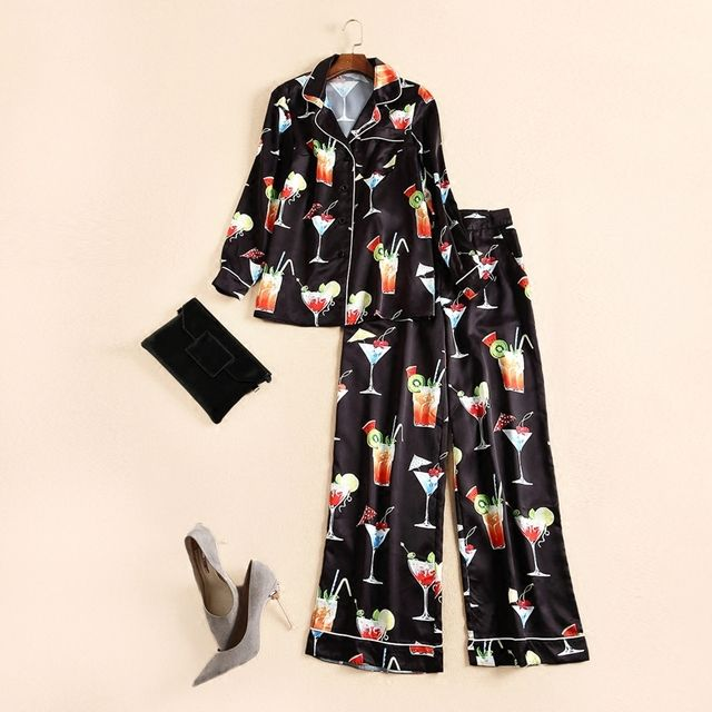 New 2017 spring summer brand fashion women bathrobe style tops two piece set holiday drinking patterns print pants suit black