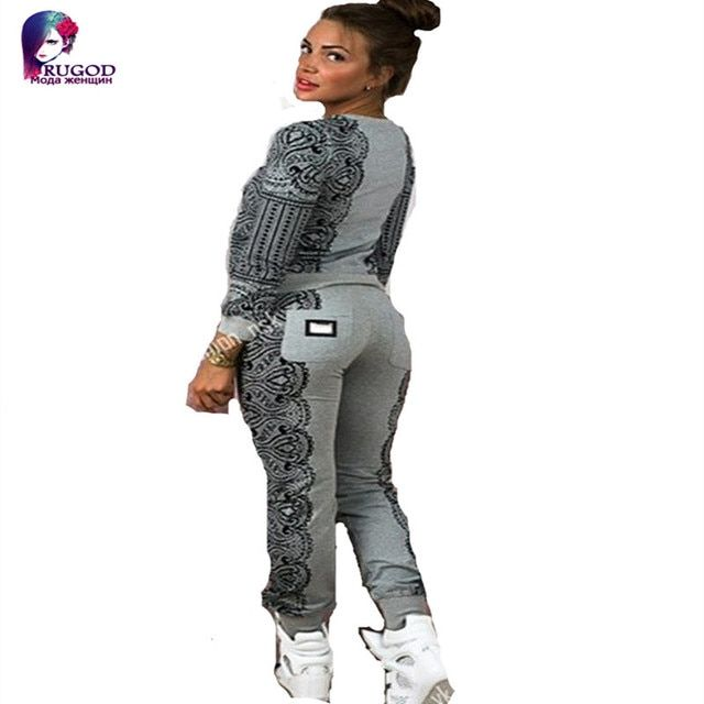 Two Piece Set  Women Suits 2017 autumn Spring sweatshirt tracksuits lace print high quality moleton feminino survetement   femme