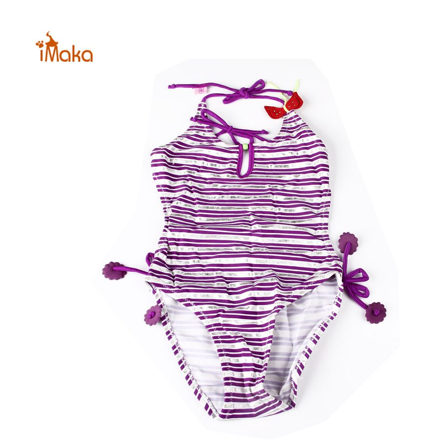 2017 Kid Baby Girls Striped Halter Backless One-piece Bathing Swimwear Swimsuit Children Bikini For 2-9 Age