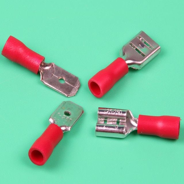 Free shipping 50pcs Red fdd1.25-250 50pcs Red mdd1.25-250 Fully Insulated 6.3mm Female Spade Connector 0.5-1.5mm Crimp Terminal