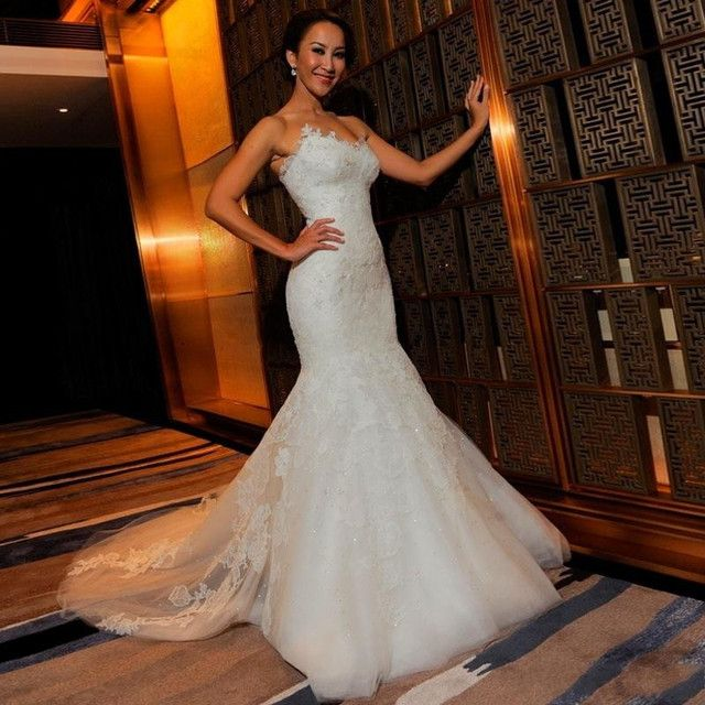 2016 New Luxury Romantic Mermaid Sweetheart Neckline Strapless Tulle Wedding Dress With Beaded Lace Applique Bridal Dress