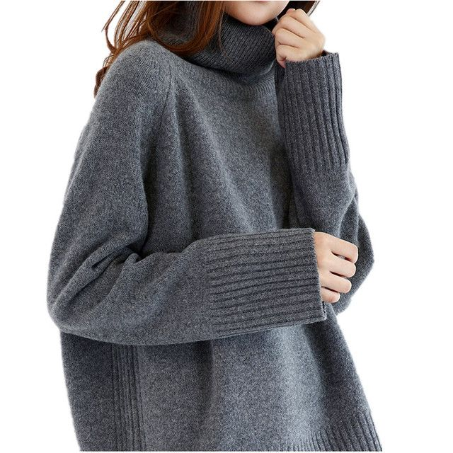 2018 Double thickening loose turtleneck cashmere sweater female sweater cashmere pullover sweater