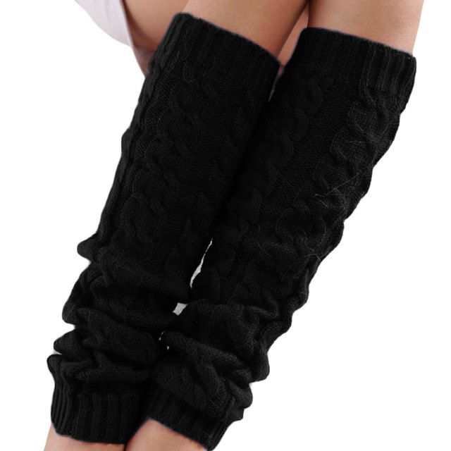 Winter Leg Warmers for Women Fashion Gaiters Boot Cuffs Woman Thigh High Warm Knit Knitted Knee Socks Black Christmas Gifts