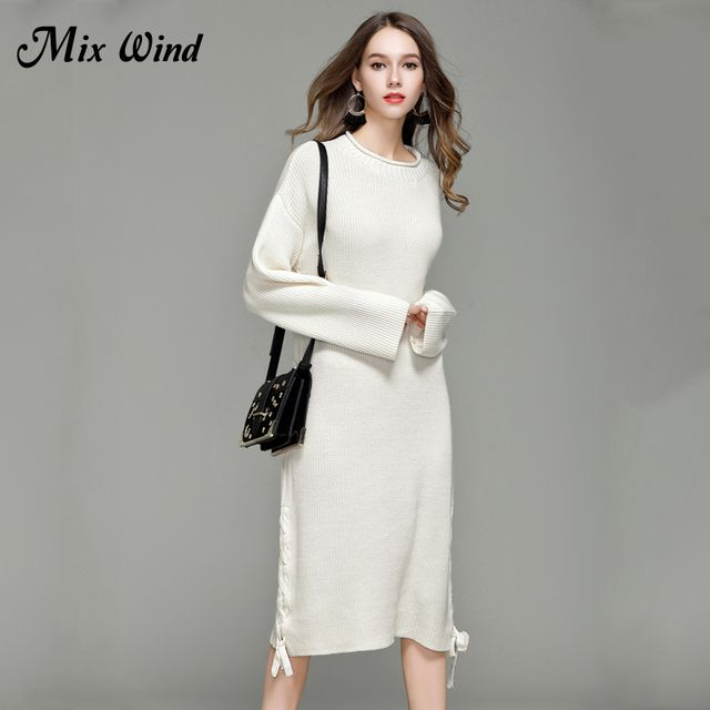 Mix Wind 2017 Autumn And Winter New Loose Knit Dress Long Sweater Women's Long-Sleeved Shirt Shirt High Quality