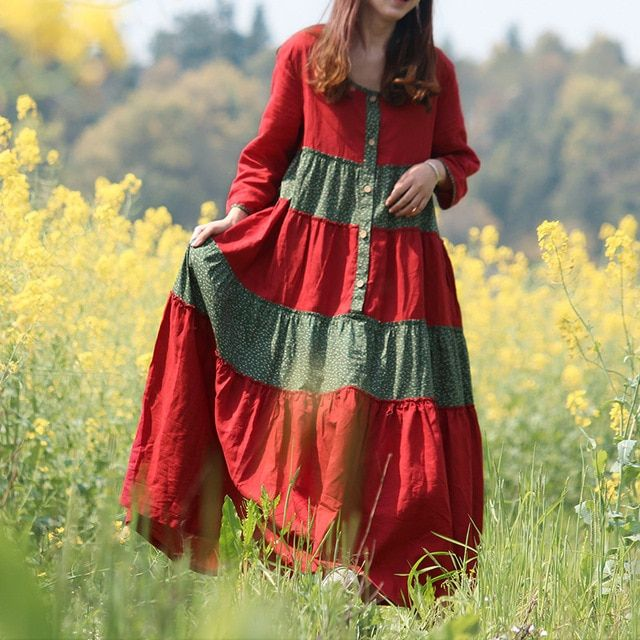 Spring Autumn Dress Women Bohemian Long Maxi Dresses Cotton Linen Shirt Dress Country Style Floral Patchwork Vestidos Robe Jurk