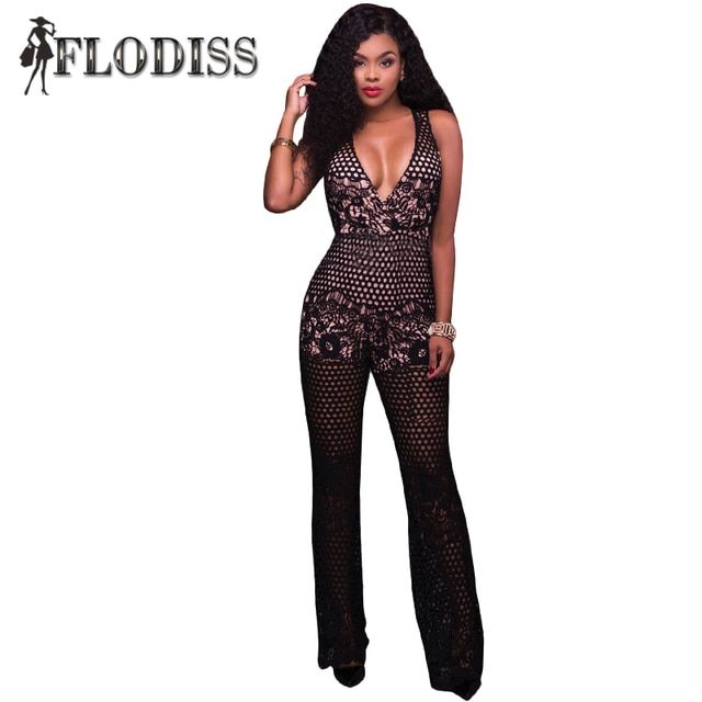 FLODISS Brand High Quality 2017 New Summer Black Lace Jumpsuit Sexy V-Nech Romper Lady Elegant Evening Party Overall