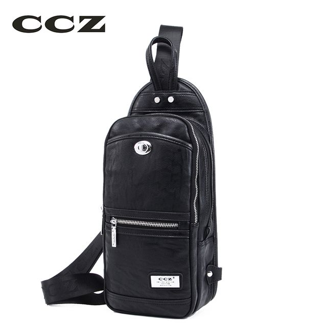 CCZ 2017 New Shoulder Bag Mens Crossbody Bag PU Leather Chest Pack Men bags Fashion Casual Trending Bolsa SL8010