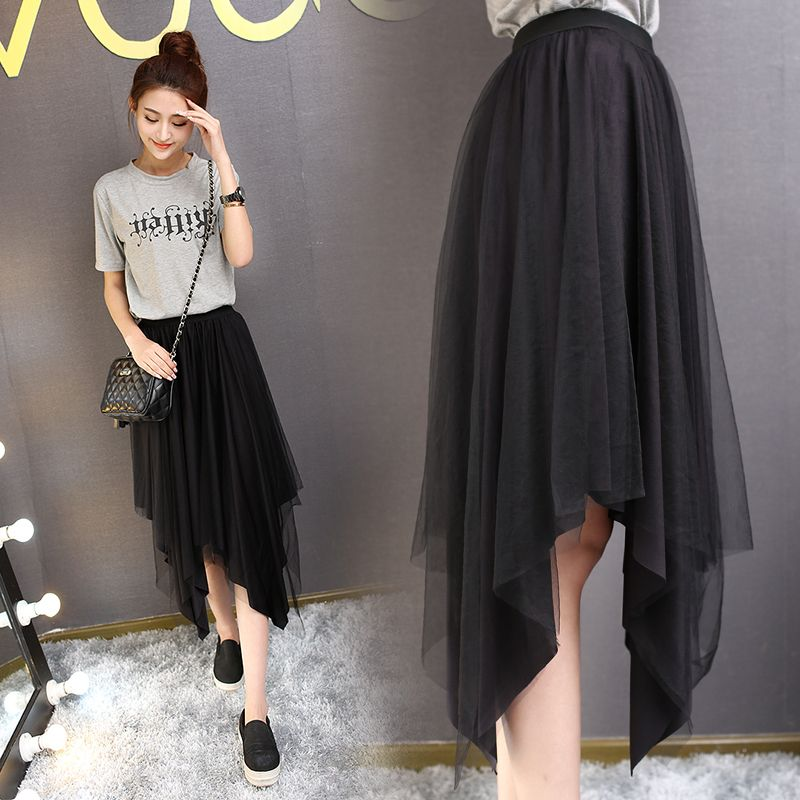Midi High Elastic Waist womens skirt Fashion Solid Asymmetrical skirts women 2016 New Arrival ladies autumn winter Vintage black