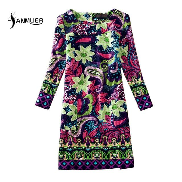 2017 Fashion Vintage Flowers  Women Clothing Long Sleeve O-Neck Women Dress Plus size Casual Print Dresses Vestisos 4XL