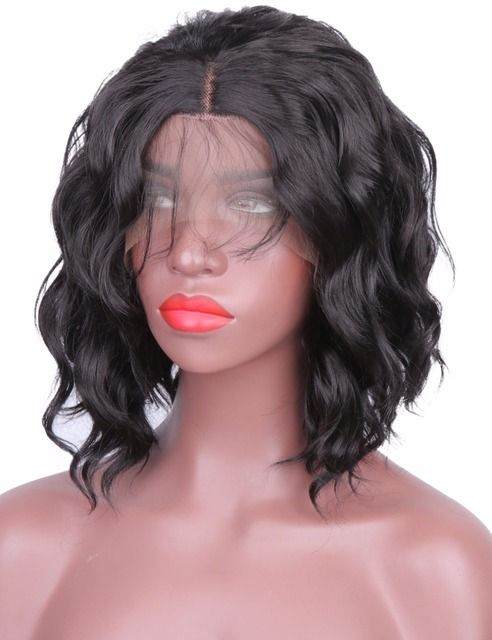 Synthetic Lace Front Wig Short Bob Heat Resistant Body Wave Wigs with Baby Hairline Medium Brown Cap Layered Wigs for Women