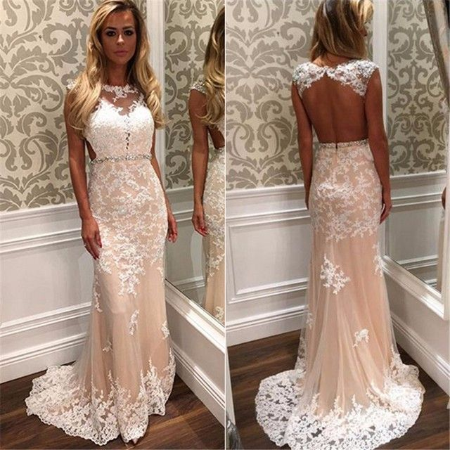 Champagne White Appliques Lace Mermaid Prom Dress 2017 Sexy Backless Beaded Lace Long Evening Prom Gowns Vestido De Novia