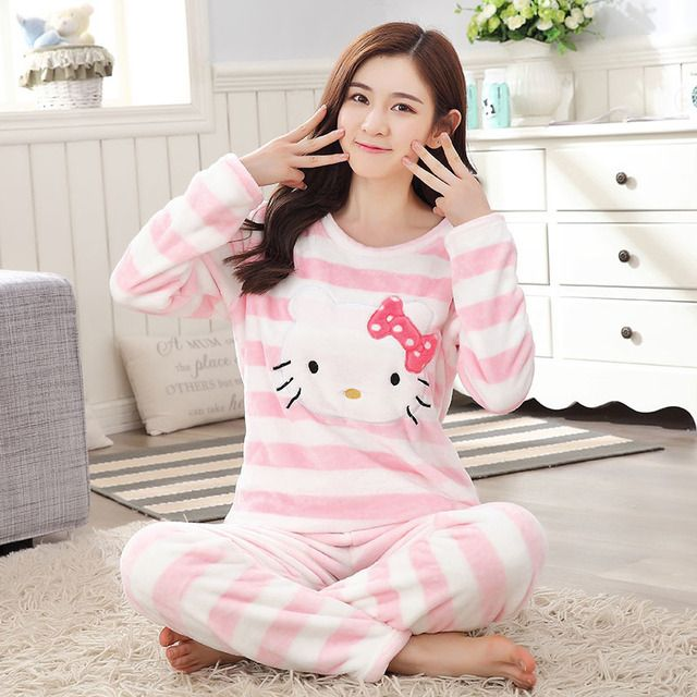 Low Price Winter Thick Warm Pajamas for Women Coral Flannel Girl Pyjamas Home Serve Leisure Time Long Sleeve Pants Lovely Sweet