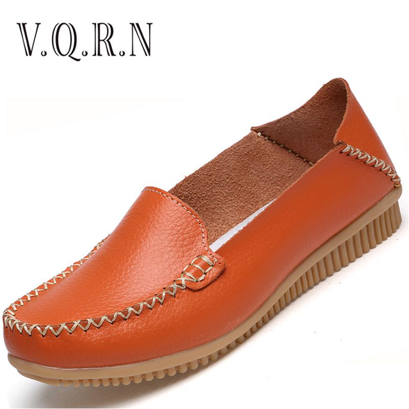 VQRN Autumn Women Ballet Flats Genuine Leather Slip On Shoes Women Flats Ballerina Flats Moccasins Ladies Loafers Shoes