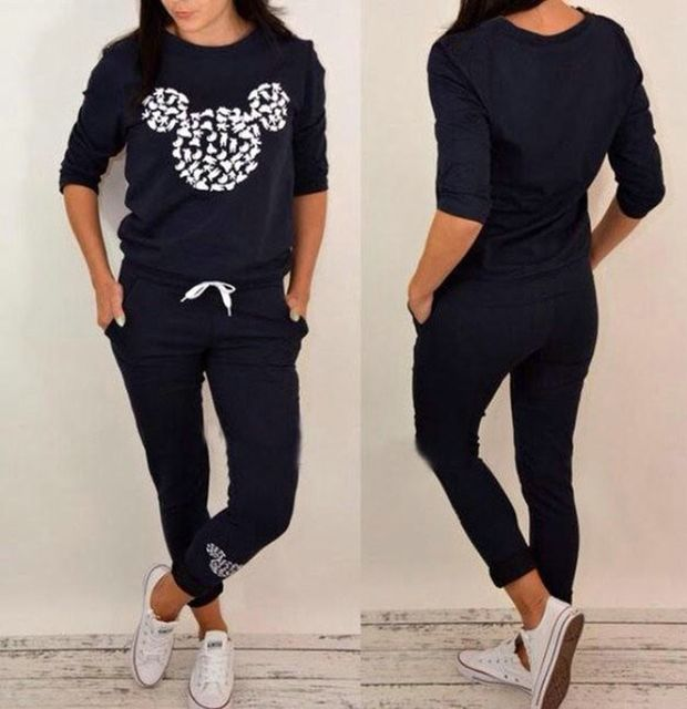 Black Color Brand New Women Tracksuits Suits Set Suit Sportswear Sweatshirt+Pants 2 piece set Women Clothing