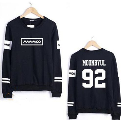 Kpop mamamoo solar moonbyul member name printing o neck thin sweatshirt for spring plus size fashion pullover hoodies for fans
