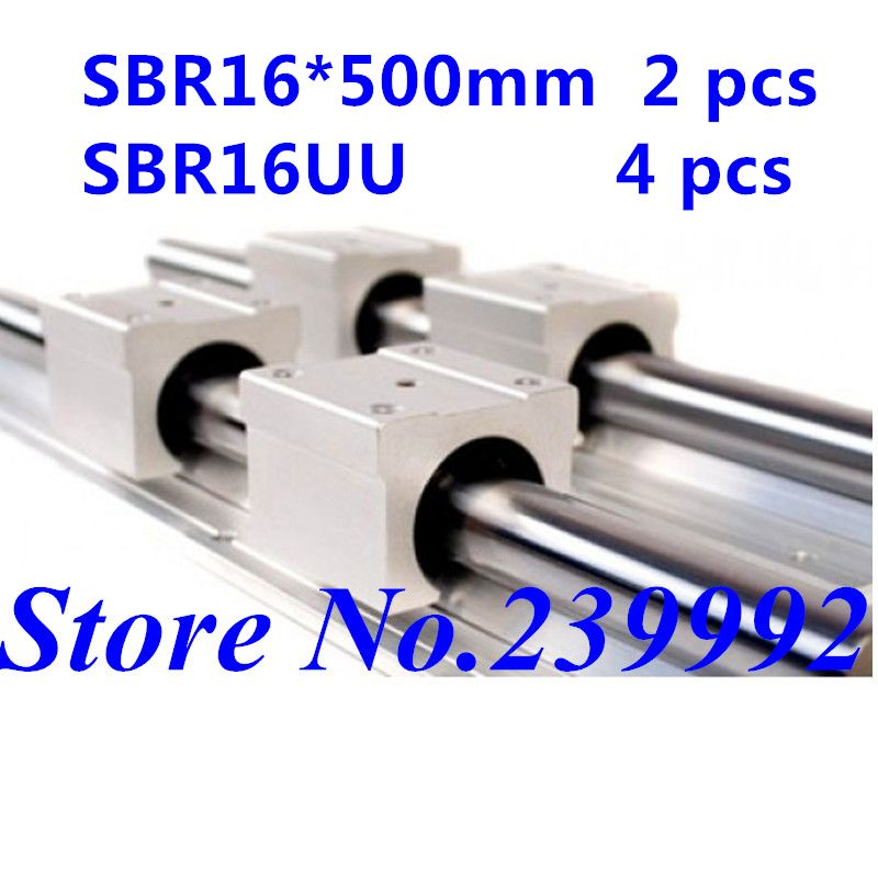 2 pcs SBR16 500mm linear guide and 4 pcs SBR16UU linear bearing blocks,sbr16 length 500mm for CNC parts