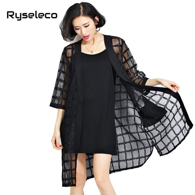 2016 Summer Women Loose Air Conditioner Coats Autumn Black Perspective Grids Long Plus Big Size Plaid Cardigan Women's Clothing