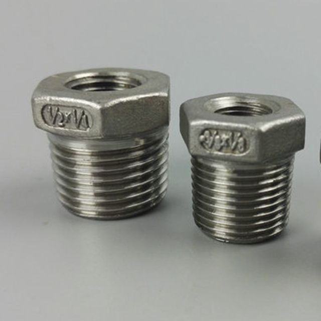 "1/2"" to 1/4"" BSP Thread Bushing Fill 304 Stainless Steel Core Joint Pipe Fitting Hose Straight Connector"