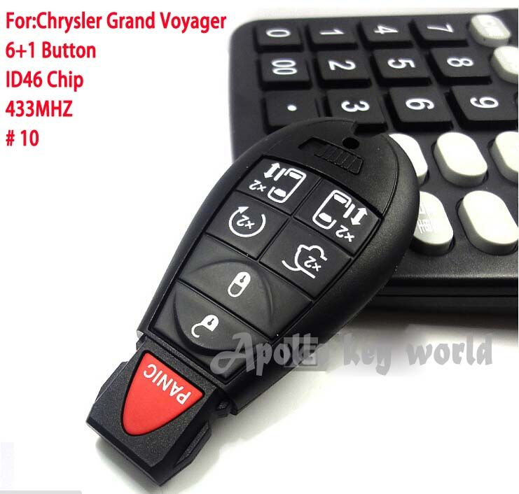 6+1 Buttons Smart Remote Control Key For Chrysler Grand Voyager With ID46 Chip 433Mhz Car Alarm Keyless Entry Fob