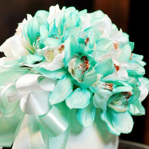 25cm Silk Artificial Orchid Bridal Flower Bouquet Ideas Wedding Anniversary Decor Marriage Supplier White Blue F5016