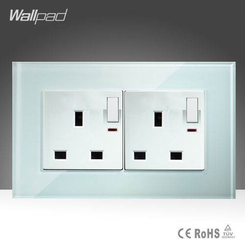 Double 13A UK Switched Socket Wallpad White Glass 146*86mm  Push Button Switch and 13A UK Socket With LED Light Free Shipping