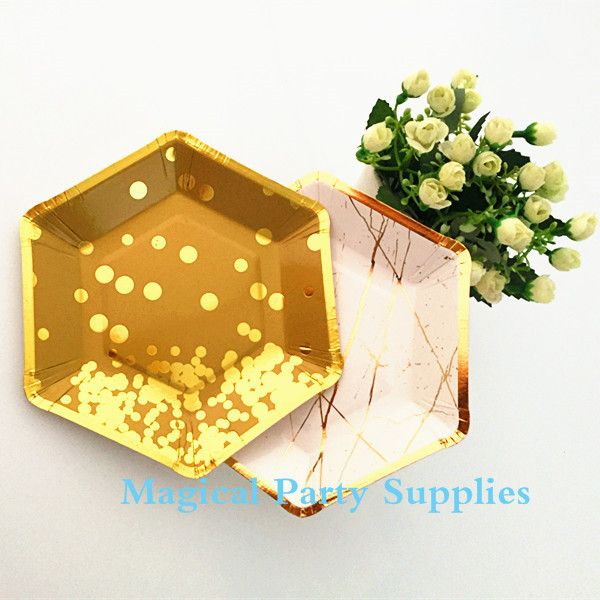 Free Shipping 24pcs Small Gold Paper Plates Gold Foil 7 Inch Hexagonal Plates Disposable Paper Plates Wedding Copper Party Plate