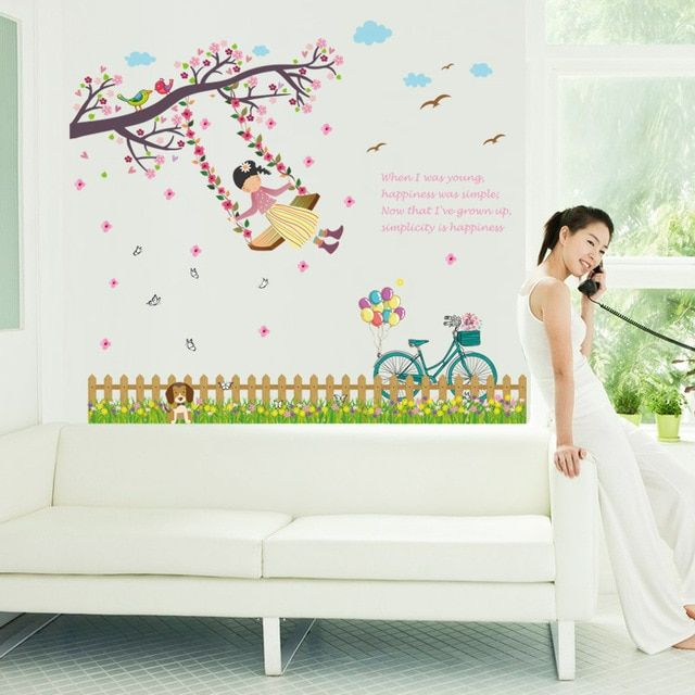 Flowers Fence Swing Girl Tree Birds Butterfly Wall Stickers Decor Poster Home Store Window Wallpaper Decoration Wall Graphic