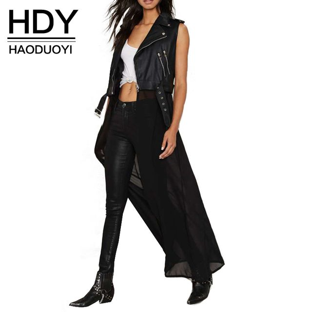 HDY Haoduoyi 2016 Autumn Fashion Women Solid PU Patchwork Chiffon Sleeveless Long Coat Jacket Zipper Casual Outwear