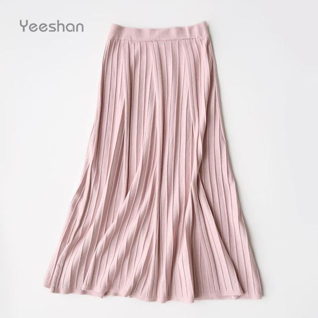 Yeeshan Long Skirt Women High Waist Wool Knit Saia Longa Pink Pleated Falda Solid Knitted Winter Skirts Casual Women's Skirts